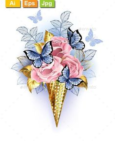 Buy Waffle Cone with Pink Roses by on GraphicRiver. Golden waffle cones with pink roses, decorated with gold and blue leaves, with sitting, realistic blue butterflies on. Butterfly Drawing, Blue Butterfly, Mode Poster, Nature Vector, Flower Phone Wallpaper, Cross Stitch Pictures, Blue Nose Friends, Pink Roses, Flower Art