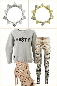 *BBA Outfit Pick* #Grey Days Just Got Nasty. We teamed this MISBHV 'Na$ty' Motif Cotton Sweatshirt with A.McQueen Leggings and these pretty nude Alaïa shoes. To accessorize, of course we hand-picked our own BraggaBoast #SpikeConeBracelets to finish the look. Like?