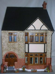 Weybourne miniature house, set in 1953, built from scratch, using strip wood and mount card