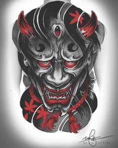 japanese tattoos for women Oni Tattoo, Hannya Maske Tattoo, Hanya Tattoo, Demon Tattoo, Samurai Tattoo, Tatoo Art, Japanese Mask Tattoo, Japanese Sleeve Tattoos, Japan Tattoo Design