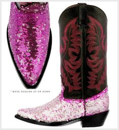BLING COWGIRL BOOTS Pink Flip Sequin Embroidered Black Genuine Leather Cowgirl Boots SIZES 5-10.5 Hippie Goth, Boot Bling, Different Shades Of Pink, Pink Love, Cowgirl Boots, Hippy, Steampunk, Sequins, Valentines
