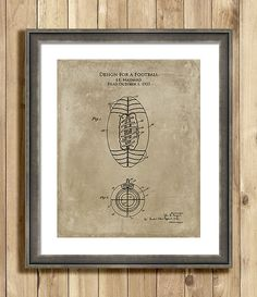 1920s Football #patent #art #print #football #sports by ScarletBlvd #etsy #men #gifting #home #decor