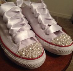 Pearl and Bling Mix Converse by Munchkenzz on Etsy, $115.00