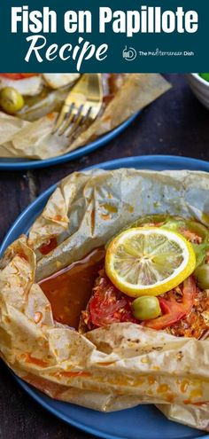 Tender, flavor-packed fish en papillote, prepared Mediterranean -style with green peppers, tomatoes, and a light lemony sauce, all cooked together in parchment parcels. Comes together in 25 minutes! Fish Dishes, Seafood Dishes, Fish And Seafood, Main Dishes, Fish Recipes, Seafood Recipes, Cooking Recipes, Mediterranean Dishes, Mediterranean Style