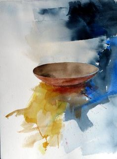 Buy Bowl, a Watercolor on Paper by Stig O Sivertsen from Norway. It portrays: Still Life, relevant to: plate, bowl, watercolour, still life, nature morte, akvarell , Stig-Ove Sivertsen, silleben Expressive watercolor