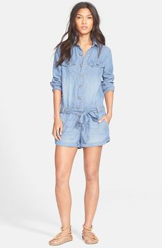 Free shipping and returns on Free People Drapey Chambray Romper at Nordstrom.com. A relaxed, ultrasoft chambray romper woven features a button-front bodice with a spread collar and long sleeves. A belted waistline and cuffed shorts complete the casual-chic style.