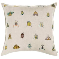 Colorful winged insects, moths and beetles take flight in patterns across this pillow! Pillow has a 90% small feather, 10% down insert. Fully embroidered cover, front and back on 100% linen fabric, hidden zipper along bottom. Measures 20″ × 20″. Custom sizes available to fit any pillow insert. Lead time is approximately 2-3 weeks. Please contact weborders@coralandtusk.comor call us at 718-388-4188 for available options and price quotes. Please see our detailedcareinstructionsin…