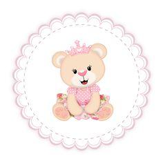 Convites e Tags ursinha princesa gratuito para você imprimir ai na sua casa! - Popis Digital Teddy Bear Party, Teddy Bear Baby Shower, Cute Teddy Bears, Baby Boy Shower, Baby Shower Favours For Guests, Baby Shower Labels, 40th Birthday Cards, First Birthday Photos, Diy And Crafts