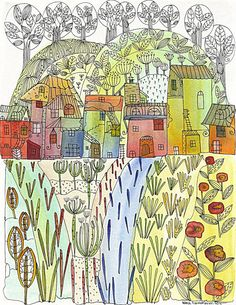 Original Illustration / Aquarelle Ink / Village by AnelehART