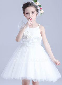 Vestidos princesa/ Formato A alças de ombro Curto/Mini fecho de correr Sem magas Vestido de daminha