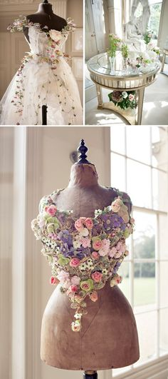 Stunning floral dresses by Wedding Florist Sarah Horne  www.fusionflowers.com