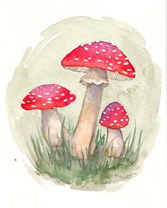 Hey, I found this really awesome Etsy listing at https://www.etsy.com/listing/212506742/red-mushroom-watercolor-print-forest