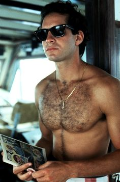 """and how hot was Steve Guttenberg in """"Cocoon? Discount Sunglasses, Ray Ban Sunglasses, Steve Guttenberg, Hairy Chest, Famous Faces, Role Models, Actors & Actresses, Beautiful Men, How To Look Better"""