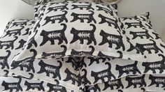 """Some more """"Cool Cat"""" prints from H Prints. Sam Cross, Cross Art, Cat Prints, Cool Cats, Printing On Fabric, Bed Pillows, Cool Stuff, Pillows, Fabric Printing"""