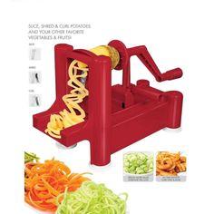 Red Essential Spiralizer Tri-Blade Spiral Vegetable Slicer Noodle Maker BPA Free #ClearMax