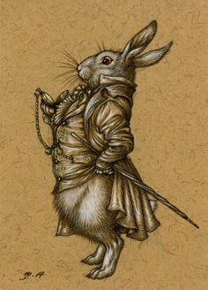 The White Rabbit by Himmapaan - pencil, ink and gouache on recycled paper, 2.5 x 3.5 inches (ACEO)