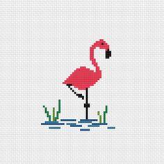 Flamingo cross stitch pattern digital download Cross Stitch Patterns Free Easy, Cross Stitch Beginner, Small Cross Stitch, Cross Stitch Bird, Cross Stitch Animals, Cross Stitching, Crochet Flamingo, Flamingo Pattern, Hand Embroidery Videos
