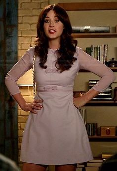 Jess's purple bow front dress with sheer sleeves on New Girl. Outfit Details: https://wornontv.net/38185/ #NewGirl