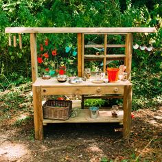 Buy Plum Discovery Mud Pie Kitchen from our Garden Toys & Games range at John Lewis & Partners. Diy Mud Kitchen, Mud Kitchen For Kids, Wooden Kitchen, Kitchen Shop, Outdoor Sinks, Outdoor Toys, Outdoor Play, Outdoor Kitchens, Bamboo Wind Chimes