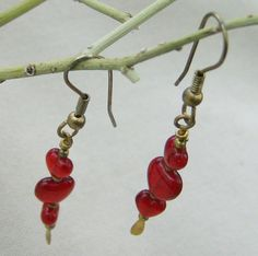 Red Heart Earrings  Handmade with Gold Tone Ear by JewelryArtistry
