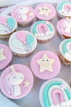 Feast your eyes on this gorgeous unicorn baptism! The cupcakes are magical! See more party ideas and share yours at CatchMyParty.com #catchmyparty #partyideas #unicorns #unicornparty #baptism #unicornbaptism #cupcakes