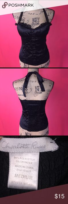 Charlotte Russe Corset Style Halter Top Adorable Charlotte Russe Corset Style Halter Top made with a satin like material so it is very soft on the skin does have some stretch to it not a lot though! In perfect condition no rips or stains! Charlotte Russe Tops Blouses