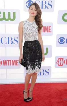 Emmy Rossum- Black and white lace. Red lips. Side swept waves.