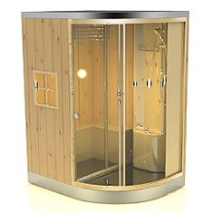 Shower booth with sauna