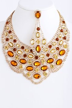 Champagne Crystal Elizabeth Necklace Set   Awesome Selection of Chic Fashion Jewelry   Emma Stine Limited