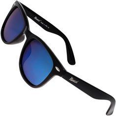 4042672ca1 Classic Polarised Sunglasses for Mens and Womens Black   Blue Mirror Lens