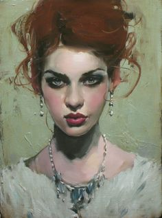 Artist: Malcolm Liepke, b. 1954, oil on canvas {contemporary figurative beautiful woman redhead female face portrait painting #loveart} <3