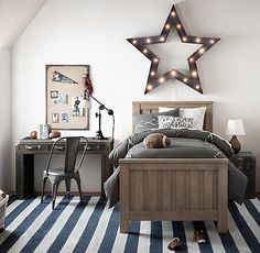RH baby&child's Vintage Illuminated Oversized Framed Star Weathered Metal:Bands of steel & illuminated by a series of lights & come together on a grand scale as a reminder that their star shines bright.