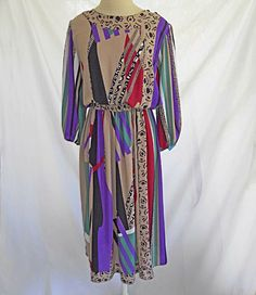 Diane Freis Dress Vintage Deadstock Cubist Moderne Print Georgette Muted Maxi in Clothing, Shoes & Accessories, Vintage, Women's Vintage Clothing Vintage Dresses, Vintage Outfits, Vintage Clothing, Floral Gown, Boho Dress, Bohemian Dresses, Boho Fashion, Fashion Design, Printed Skirts
