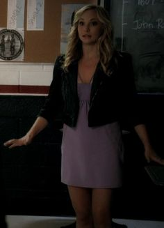 Caroline- purple dress and Juicy Couture Sophie denim moto jacket Fashion Tv, Fashion Outfits, Vampire Diaries Outfits, Candice King, Caroline Forbes, Themed Outfits, Moto Jacket, Purple Dress, American Actress