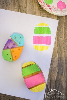 Turn a potato into an Easter egg stamp! Great kid's craft for Easter!