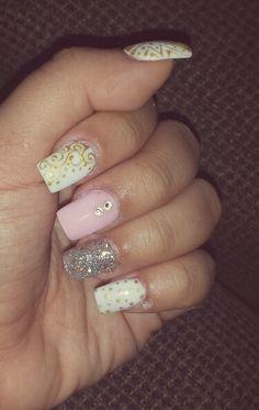 Studio Nails #nails #pink #gold