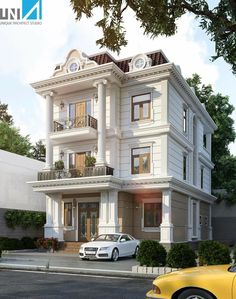جبسيات واجهات خارجيه House Front Design, Cool House Designs, Duplex Design, Apartment Design, Villa Romaine, Townhouse Exterior, House Windows, Facade House, Neoclassical Architecture