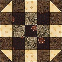 Use my free quilt block pattern to make five patch quilt blocks called Round the Corner. The blocks finish at 10-inches square and are easy to assemble.