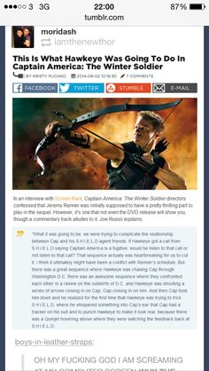 Why did they cut Hawkeye's part out of Winter Soldier? This would have been so AWESOME!