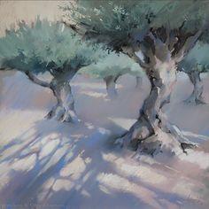 Сонечные оливы Sunny olive trees 48×48. 2016