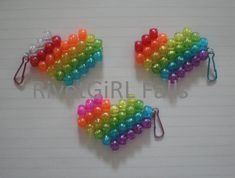 Glitter Rainbow Striped Heart Kandi Key-chain