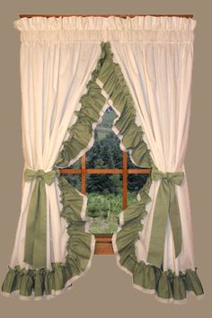 Ruffled Country Curtains With Lace Edging