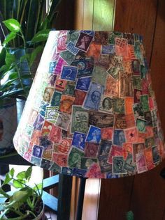 Lamp Shade with vintage postage stamps