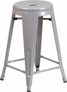 24'' High Backless Silver Metal Indoor-Outdoor Counter Height Stool with Round Seat, CH-31350-24-SIL-GG | RestaurantFurniture4Less.com