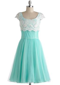 Breathtaking Belle Dress, #ModCloth The delicate and vivid color, that sweet and innocent lace detailing. This is a dress fit for a Princess, whether she's dancing at the ball or simply feels like dressing up for the day!