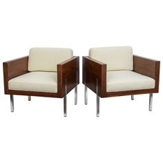 7000 HEIGHT:23 in. (58 cm) WIDTH:26 in. (66 cm) DEPTH:26 in. (66 cm) SEAT HEIGHT:16 in. (41 cm) Handsome Pair of Rosewood Chairs by Probber | From a unique collection of antique and modern lounge chairs at https://www.1stdibs.com/furniture/seating/lounge-chairs/