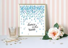 Rain Art Print  Watercolor Art Print  Blue by WatercolorPaperie