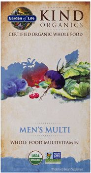Kind Organics Men's Multi by Garden of Life (Whole Food Multivitamin). Whole Food Multivitamin Formulated Specifically for Men. 500% Daily Value of Vitamin B12. 16 Vitamins & Minerals. Certified vegan and gluten free. Available at ProHealth.com ($34.97) #ProHealth