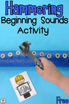 Are you looking for a fun phonics activity for your kinesthetic learners? This Hammering Beginning Sounds Activity is an engaging and entertaining way to get beginning readers moving as they practice identifying initial sounds. This phonics activity is a great ways for kids to work on their hand and eye coordination, dexterity, and much more! Click on the picture to learn how to set-up this activity and get the free beginning sounds cards! #beginningsounds #phonicsactivity #beginningreaders