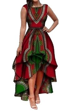 ARTFFEL-Women Fashion African Dashiki Print Sleeveless High-Low Cocktail Dress - best woman's fashion products designed to provide Latest African Fashion Dresses, African Dresses For Women, African Print Dresses, African Print Fashion, African Attire, African Wear, African Prints, African Style, African Women